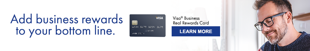 Ad: Add business rewards to your bottom line. Visa Business Real Rewards Card. Learn More. Image showing man sitting at a desk working.