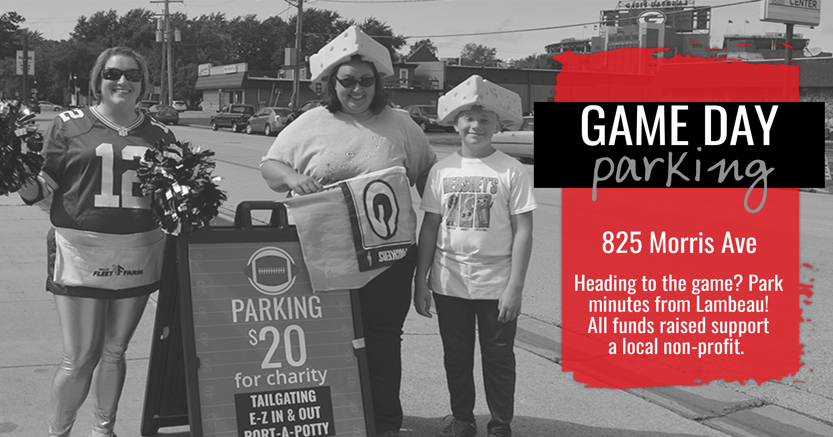 Game Day Parking. 825 Morris Avenue. Heading to the game? Park minutes from Lambeau! All funds raised support a local non-profit.