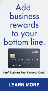 Ad: Add business rewards to your bottom line. Visa Business Real Rewards Card. Learn More.